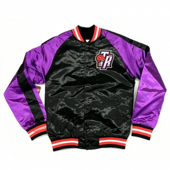 TORONTO RAPTORS COLOR BLOCK SATIN BOMBER JACKET