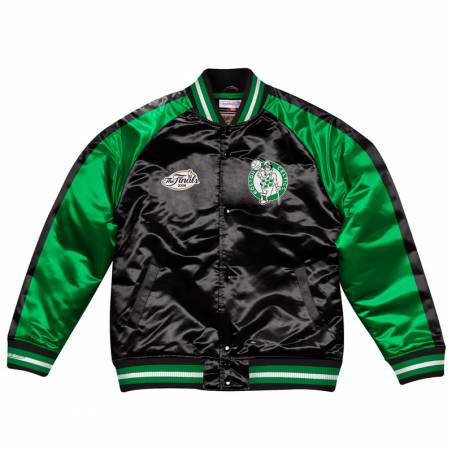 BOSTON CELTICS COLOR BLOCK SATIN BOMBER JACKET