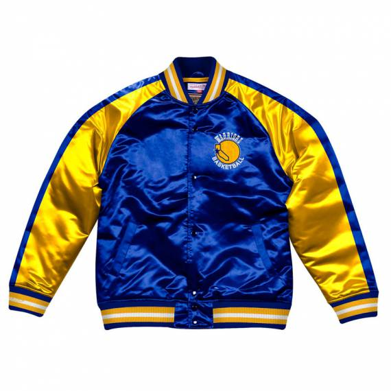GOLDEN STATE WARRIORS COLOR BLOCK SATIN BOMBER JACKET