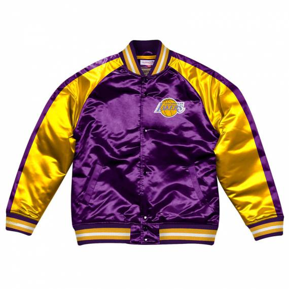 LOS ANGELES LAKERS COLOR BLOCK SATIN BOMBER JACKET