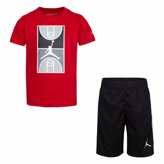 JORDAN COURTGRAPHIC TEE & SHORT SET BRED