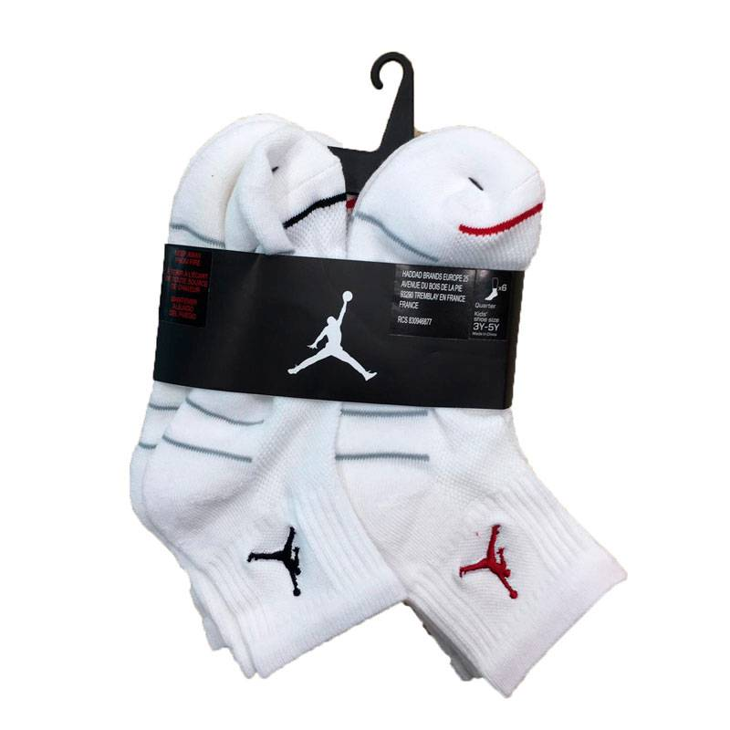 6PK QUARTER SOCK JORDAN WHITE (JUNIOR)