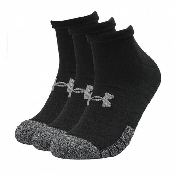UA HEATGEAR LOW CUT SOCKS 3-PACK (BLACK)