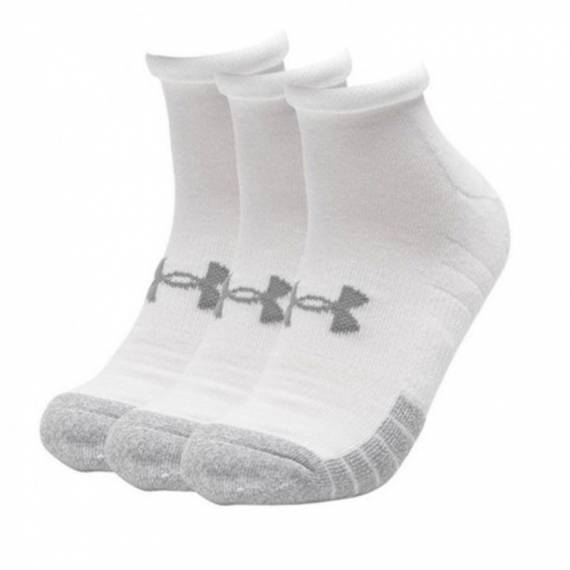 UA HEATGEAR LOW CUT SOCKS 3-PACK (WHITE)