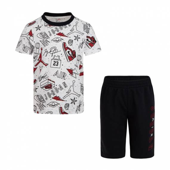 JORDAN FUN FLIGHT TEE & SHORT SET BLACK (JUNIOR)