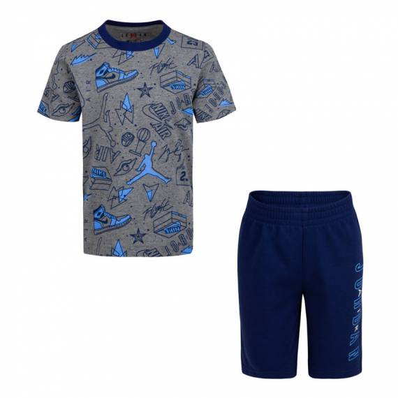 JORDAN FUN FLIGHT TEE & SHORT SET BLUE (JUNIOR)