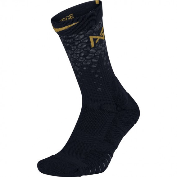 PAUL GEORGE ELITE QUICK BASKETBALL SOCKS BLACK GOLD