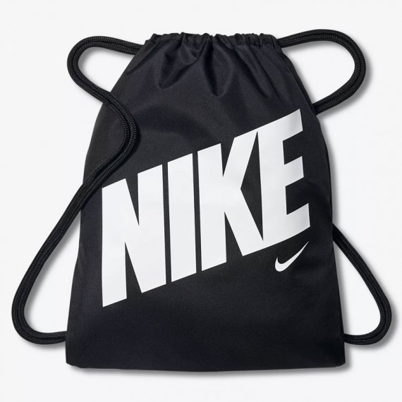 KIDS NIKE GRAPHIC GYM SACK BLACK AND WHITE