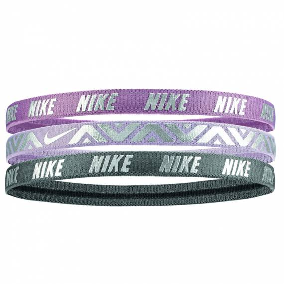 PRINTED METALLIC HAIRBANDS PURPLE (PACK DE 3)