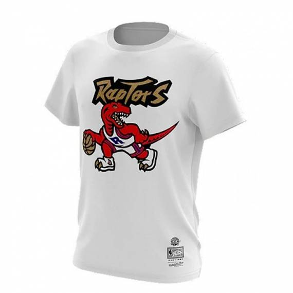 RAPTORS GOLD DRIBBLE TEE WHITE