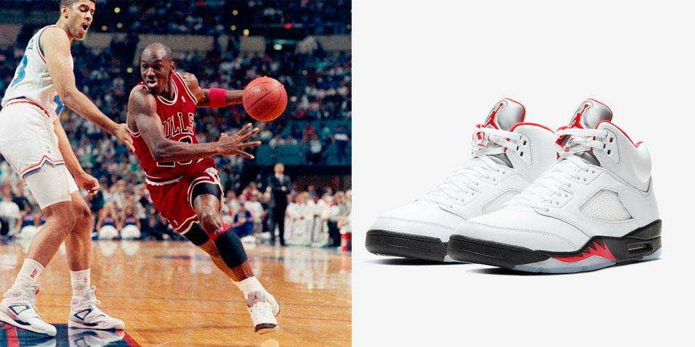 Air Jordan Retro 5 Fire Red Silver Tongue